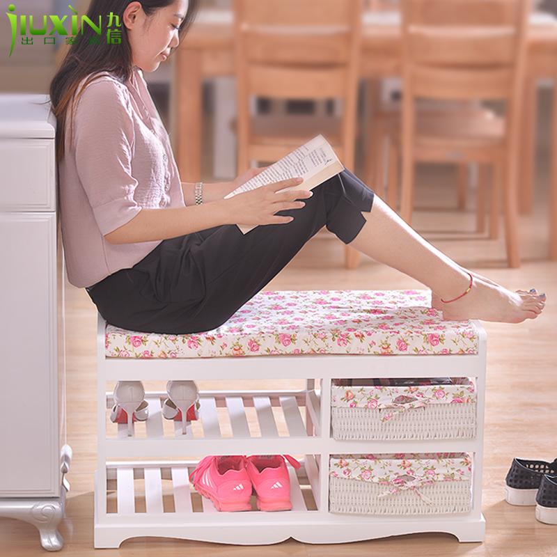 实木换鞋凳储物凳门厅穿鞋凳欧式小鞋柜 客厅沙发凳收纳凳