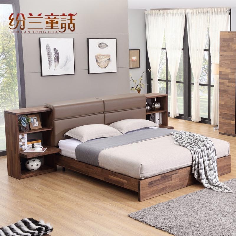挪亚北欧家具D6储物床 真皮床 双人床 实木床 极简主义 现代简约