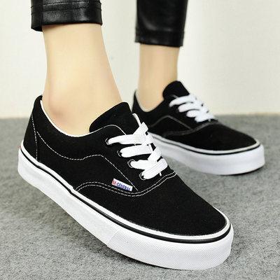 糖果色厚底系带低帮韩国帆布鞋女潮女生休闲板鞋