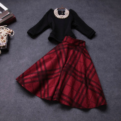 Fall/winter 2014 new Korean version of women suit skirt in autumn fashion retro big temperament sleeve dress #