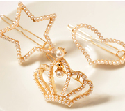 Know Nicole golden frog new Pearl Crown heart rhinestone bow clip Barrette clip bangs clips