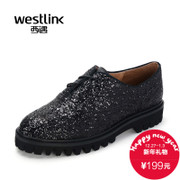 2015 West deep autumn new leisure shoes low rough with sequins with round heads and women shoes