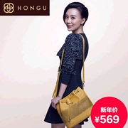 Honggu Hong Gu authentic female header layer of leather openwork 2015 new leather bag shoulder bag 4361