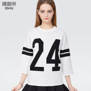 Clear blue spring 2015 new ladies fashion t head loose sweaters cropped sleeve spring sweaters