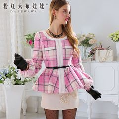 Fall/winter coat women's short pink doll 2015 thick slim big plush Pink Plaid tweed jacket