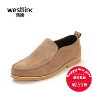 Westlink/West fall 2015 new casual leather low a pedal with the foot to help lazy people shoes men's shoes