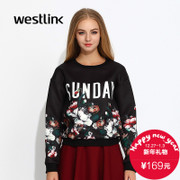 Westlink/West fall 2015 new knitting letter printing space cotton stitching women's Turtleneck Sweater