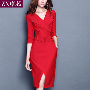2018 spring new Korean version of the slim dress was thin dress seven-point sleeves V-neck solid color package hip bottoming step skirt