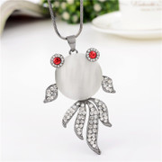 Female love necklace sweater for fall/winter accessories long cute goldfish necklace Joker Korea jewelry pendant package mail