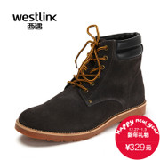 Westlink/West 2015 winter New England casual leather belt with round head Martin boots men's boots