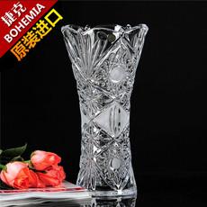 捷克波西米亚车料车刻大方花瓶水晶玻璃台面百合花花瓶