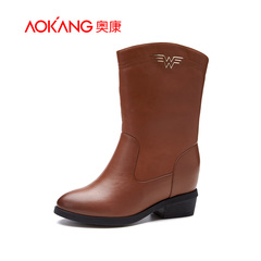 Aokang shoes autumn 2015 new cowhide with simple, comfortable warm side zipper short boots women's boots