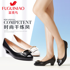 Fuguiniao shoes in the spring of 2016 new crude with side buckle shoes women shoes black leather shoes with pointed toes