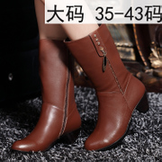 In spring and autumn/winter women's boots boots with chunky heels boots NV Martin round head with side zipper and cashmere plus size 40-43
