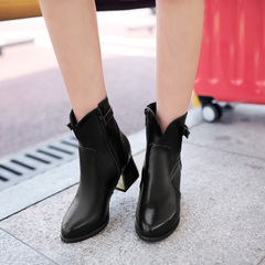 2015 designer shoes for fall/winter in Europe and high quality women short boots side zipper Velcro ankle boots round-women's boots