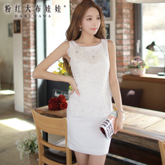 Summer pink dress dolls temperament of summer 2015 new ladies white lace dress