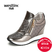 Westlink/West New Western leather rhinestone 2015 winter stitching internal plateau with low women's shoe