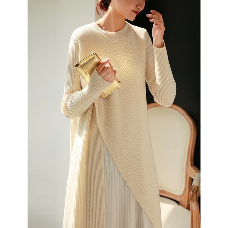 粉猫家羊毛拼接百褶针织打底长款毛衣裙过膝假两件连衣裙秋冬新款