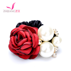 River of red roses, Pearl hair rubber band flowers tied string rope Korea bridal tiaras hair accessories