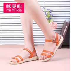 Microphone clicking 2015 new summer casual sandal low slope with flat bottom fashion shoes open toe Sandals women