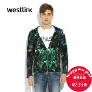 West met the 2015 men's new trend of printing casual straight flowers long sleeve hooded jacket men coat zipper