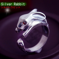 Vintage Thai silver ring 925 Silver Zodiac Garnet ring opening male and female couples rabbit ring ring