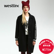 Westlink/West New 2015 winter letter long dropped shoulders loose wool coat women's coat