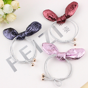 Cool na Korean children Pearlescent leather stereo rabbit ears hair tie elastic hair pony rope 6129