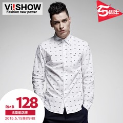 Viishow2015 spring and autumn new shirts men cotton solid color printing small fish-patterned shirt with long sleeves shirt
