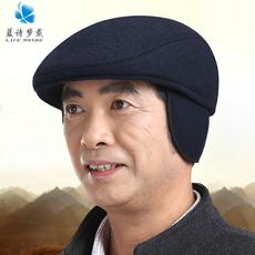 中老年帽子冬季 前进帽毛呢加厚保暖鸭舌帽户外冬天护耳帽男礼物