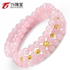 T6珠宝 黄金手链女 足金转运珠配三圈3层粉水晶手链时尚首饰礼物
