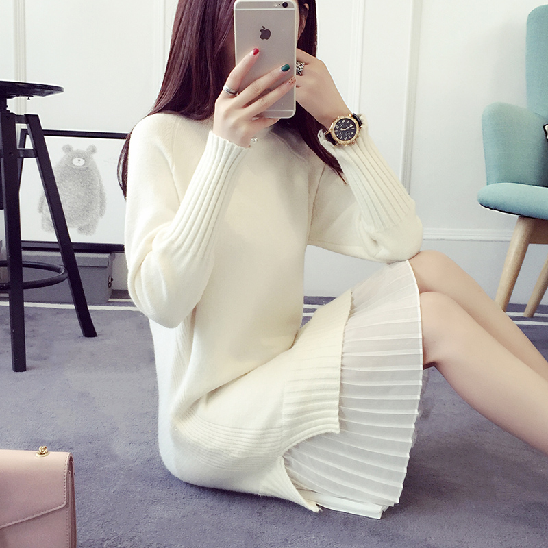 2017秋冬新款中长款韩版毛衣裙女套头加厚白色毛衣打底针织衫宽松