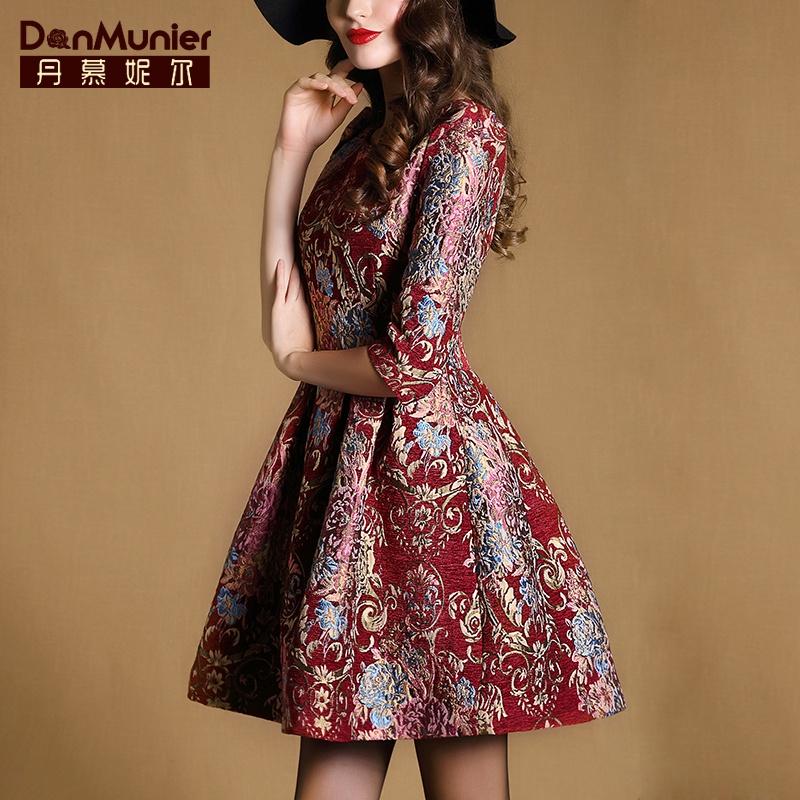 丹慕2015秋装新款奢华优雅刺绣提花圆领连衣裙七分袖显瘦裙子3231