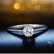 Six claw diamond ring ladies Korean zircon jewelry inlaid diamond engagement ring Korea jewelry package mail