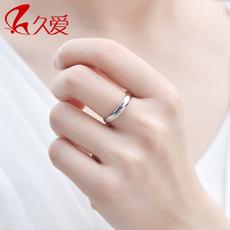 久爱简单爱925银戒指情侣戒指女光面戒指男戒子指环银尾戒银饰品