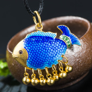 Very Thai carp ladies gold plated pendant in 925 Silver cloisonne blue burning wild fashion jewelry new