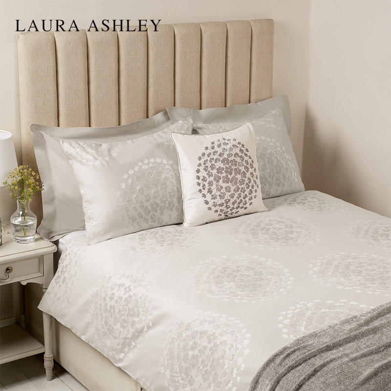Laura Ashley 可可提花鸽灰色进口床上四件套被套枕套床笠1.8米床