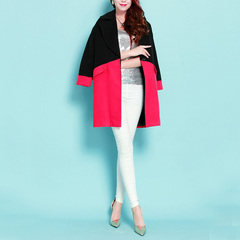 Know plain ~ Mary mosaic color dark red black buckle-Korean version of cocoon handsome wool worsted OL coat