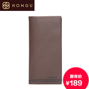 Honggu authentic wallet red Valley 2015 new counter genuine suede leather long bi-fold men's wallet 8301