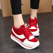 Korean autumn new style sports shoes spell color with round head running shoe cake heavy bottom low cut shoes