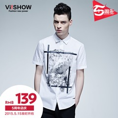 Viishow2015 summer dress new style t-Europe and simple printed short sleeve shirt men's short sleeve white shirt short