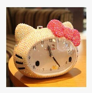 Hand-pasted diamond home accessories mute live talking voice alarm clock with night light function KT cat desk clock