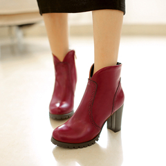 2015 new Europe and retro for fall/winter boots women's boots high heels and bare head Joker coarse boots booties tide