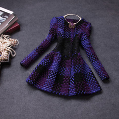 Autumn/winter 2014 in the new European and American fashion wool Plaid long sleeve slim coat jacket