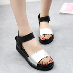 2015 new platform peep toes with casual flat Sandals women shoes summer students Luo Masong cake shoes