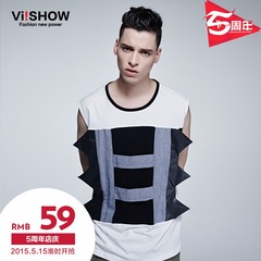 Viishow2015 summer dress new mosaic white men's vest vest vest t-shirt Europe surge