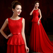Bride toast clothing spring/summer fashion 2015 red shoulders on long tailed bride wedding dress evening dress-