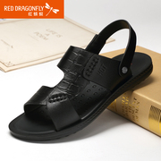 Red Dragonfly leather men Sandals 2015 summer new fashion genuine leather slip comfort shoes men's shoes