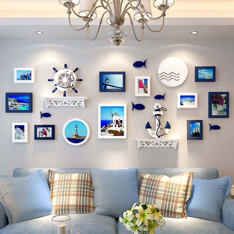 品美 创意地中海照片墙客厅相框墙挂墙儿童卧室相片墙组合欧式