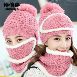 帽子女冬天韩版潮骑车百搭针织保暖口罩围脖加绒加厚护耳毛线帽子